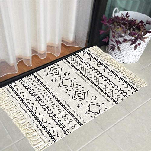 (HEBE Printed Cotton Area Rugs Washable Hand Woven Tassel Cotton Rag Rug Carpet Mat for Bedroom, Living Room, Kitchen, Laundry Room Entryway or Throw Blankets for Sofa 2' x 3' )