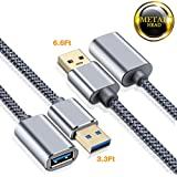 Capshi USB 3.0 Extension Cable - A-Male to A-Female - [3.3+6.6Ft] USB 3 Extension Cord Nylon Braided USB to USB3 Extension Cable USB Type a Extension Chord Superspeed USB A Cable Extender Gold-Plated