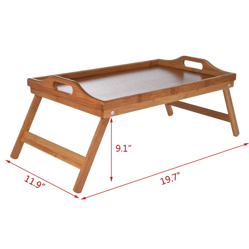Dowager Natural Bamboo Bed Tray with Folding Legs,Breakfast Tray Great for Breakfast in Bed or Eating Tray with Handles,Lightweight Portable Laptop Desk Serving Tray for Home//Office//Travel