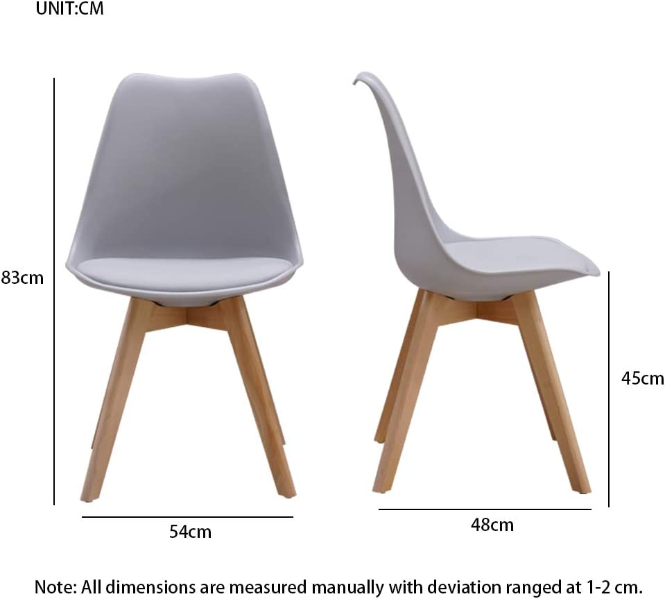 Homcasa Set of 4 Modern Design Dining Chairs, with Cushioned PU Seat and Solid Wood Legs Retro Lorenzo Tulip Lounge Chair (White + 120cm Table) Grey + 120cm Table