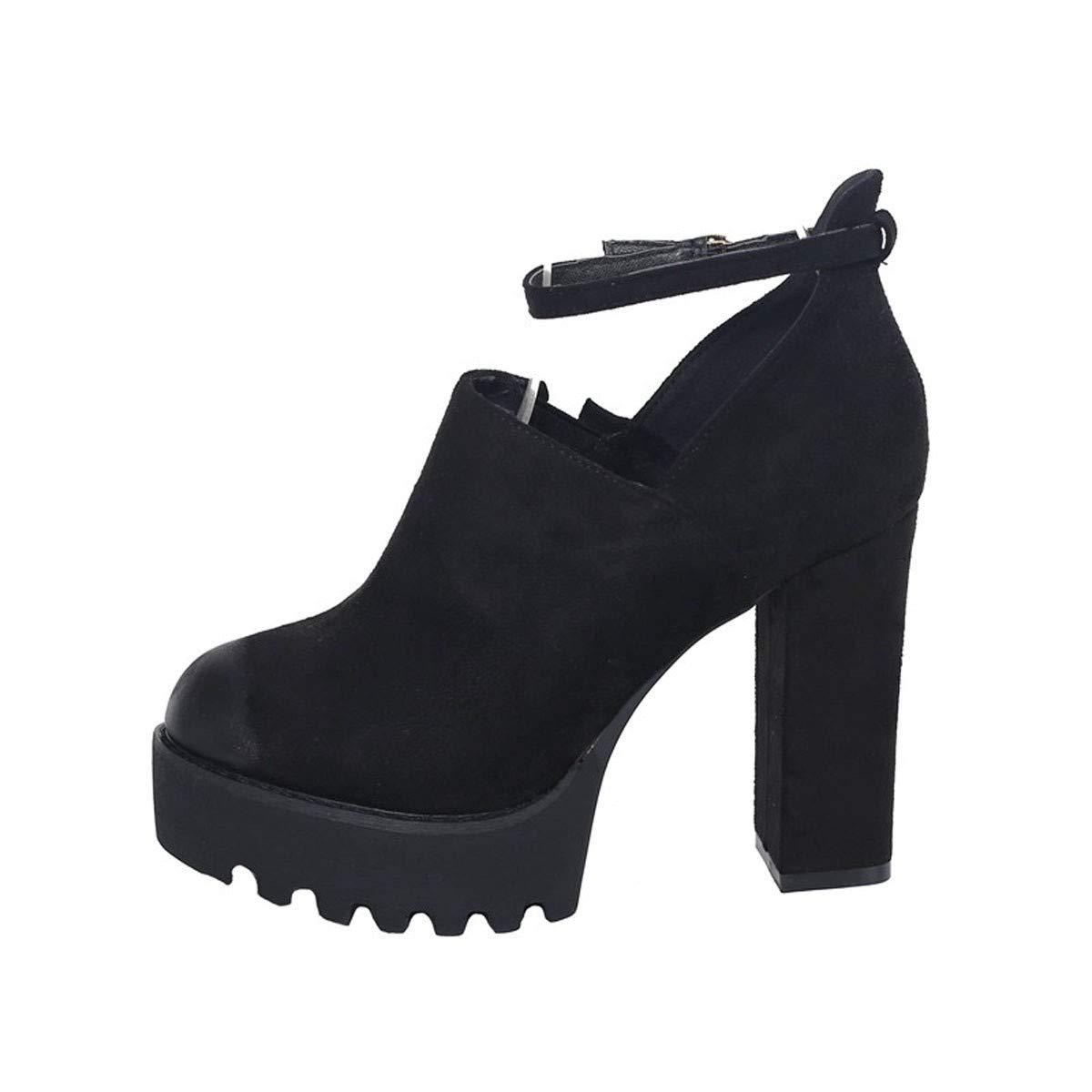 GTVERNH Frauen Schuhe Hochhackigen Schuhe Kurze Stiefeln Dicken Hintern Wasserdichte Plattform 11Cm Tiefe Mund Ferse Schuhe Einzelne Schuhe Damenschuhe Mode.
