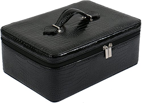 54 Essential Oils Carrying Case for 5ml, 10ml and 15ml Bottles - Hard Shell Exterior Storage Organizer Holds doTerra, Young Living and endless other oils by Soothing Wellness Essentials (Jet Black) -