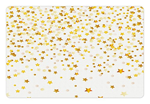 Lunarable Abstract Pet Mat for Food and Water, Sparsed Figures Dreamy Stars and Spots Geometric Design Fanciful Lifestyle, Rectangle Non-Slip Rubber Mat for Dogs and Cats, Pale Coffee Yellow ()