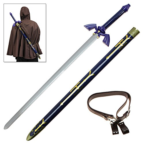 [Steel Sword of Legend Master of the Wild Blue Breath Blade Metal Replica] (Legend Of Zelda Triforce Heroes All Costumes)