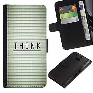HTC One M8 , la tarjeta de Crédito Slots PU Funda de cuero Monedero caso cubierta de piel (Think - Typography Message)