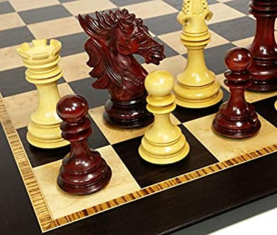 "HPL 4 Queens - Large 4 5/8"" King Staunton Dragon Knight Luxury Blood Rosewood Chess Men Set with Ebony and Birdseye Maple Board - NO Storage"