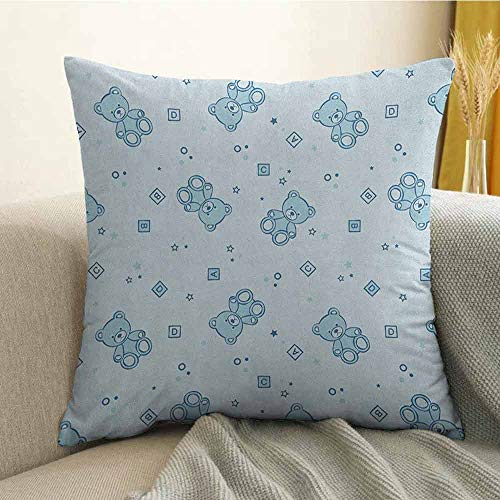 FreeKite Nursery Pillowcase Hug Pillowcase Cushion Pillow Teddy Bears and Toys with Letters on Children Imagery Baby Blue Background Anti-Wrinkle Fading Anti-fouling W20 x L20 Inch Baby Blue Aqua