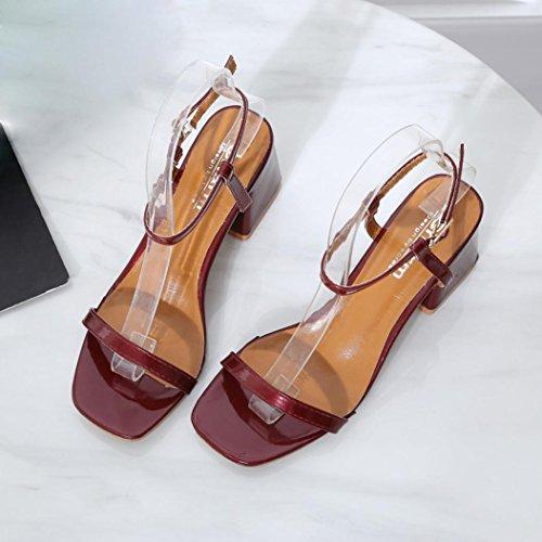 Club Chaussures Talon Rouge Soiree 38 Rond Bout Sexy Boucle Bloc Sandales Escarpin Solike Femme Été Ete 34 Cheville Bride Femme Escarpins EU x67n01qwO