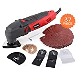 Hi-Spec 220W Power Oscillating Multi Tool with Variable Speed, 11000-23000opm & 37 Piece Universal Accessory Kit Multi Cutter, Detail Sander, Saw, Grinder, Scraper and Grout Removal Combi Tool Kit