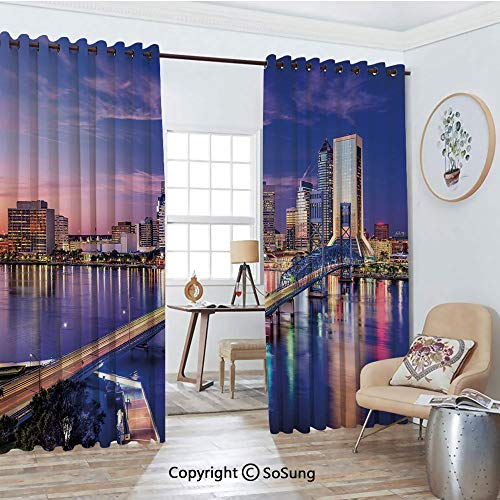 (Extra Long and Wide Blackout Curtains,Jacksonville Florida Skyline Vibrant Night St. Johns River Scenic Thermal Insulated Premium Room Divider Large Size 2 Panel Set,108
