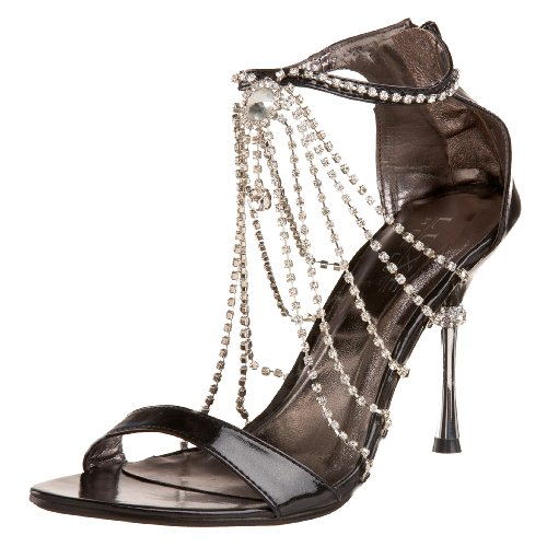 Pleaser Luxe Heels Women's Jewel-46 Closed Back Rhinestone Sandal,Black Metallic PU,7 M -
