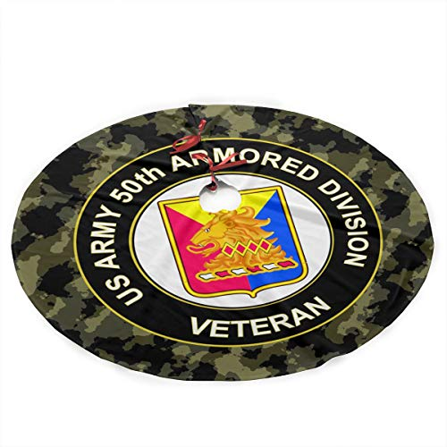 (CHRISMAX US Army 50th Armor Unit Crest Veteran Christmas Tree Skirt 36 Inches Christmas Decorations Indoor Outdoor)