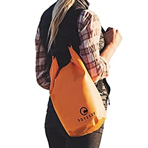 Odyssey Waterproof Roll Top Dry Bag w/ Free Water proof Cell Phone Case (Coast Guard Orange, 10 Liters)
