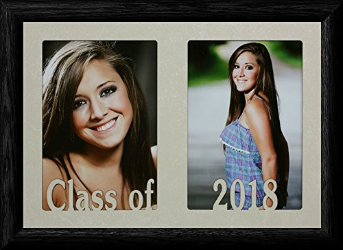 7x10 CLASS OF 2018 ~ Holds two portrait 4x6 or cropped 5x7 photos - Graduate Gift! (BLACK)