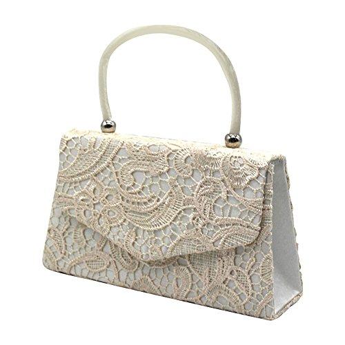 Cckuu Women Top Handle Envelope Clutch Bag Purse Handbag Bride Clutch Party Prom(Red) Ivory