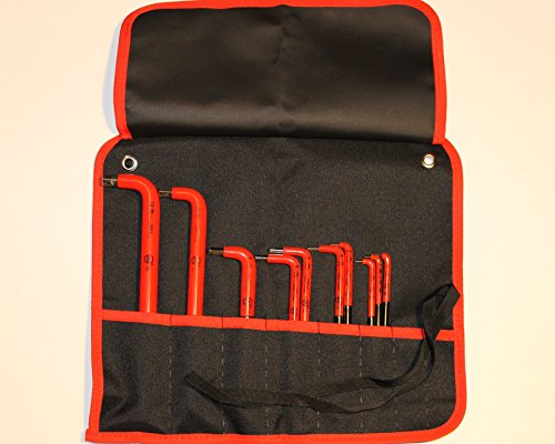Wiha 13693 Insulated Metric Hex L-Key Set, 1.5 - 12.0mm 10 Piece In Canvas Pouch (10 Piece Insulated Tool)