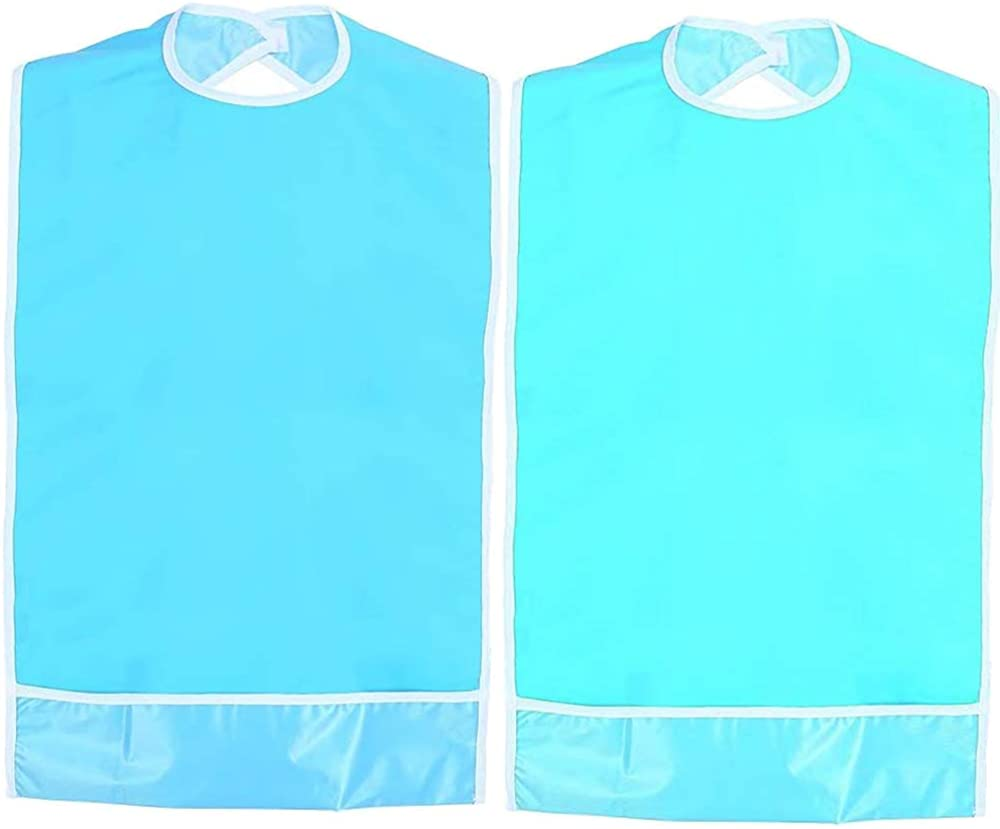Dndo 2PCS Washable Adult Bibs, Reusable Dining Clothing Protectors with Crumb Catcher, Waterproof Dirt-Resistant Bib Protector for Adult Women Elderly Patient Disability (19.7