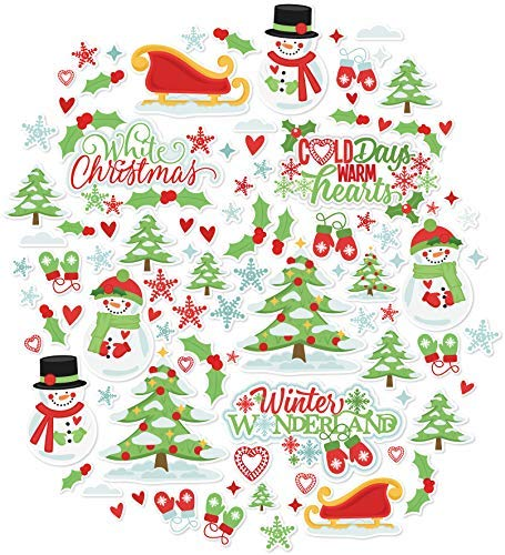 Paper Die Cuts - White Christmas - Over 60 Cardstock Scrapbook Die Cuts - by Miss Kate Cuttables