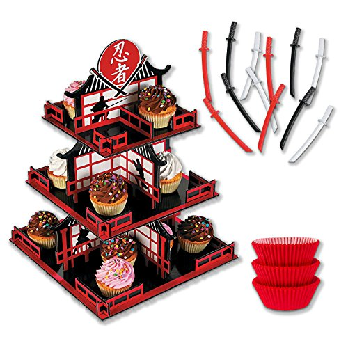 Ninja Cupcake Stand and Decorating Kit with Liners and Toppers