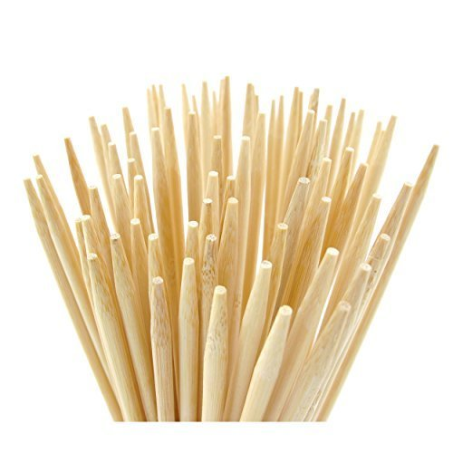 Bamboo Marshmallow S'mores Roasting Sticks 36 Inch 5mm Extra Long Heavy Duty Wooden Skewers, 110 Pieces. Perfect for Hot Dog Kebab Sausage, WITH REUSABLE BAG! Safe 100% Biodegradable