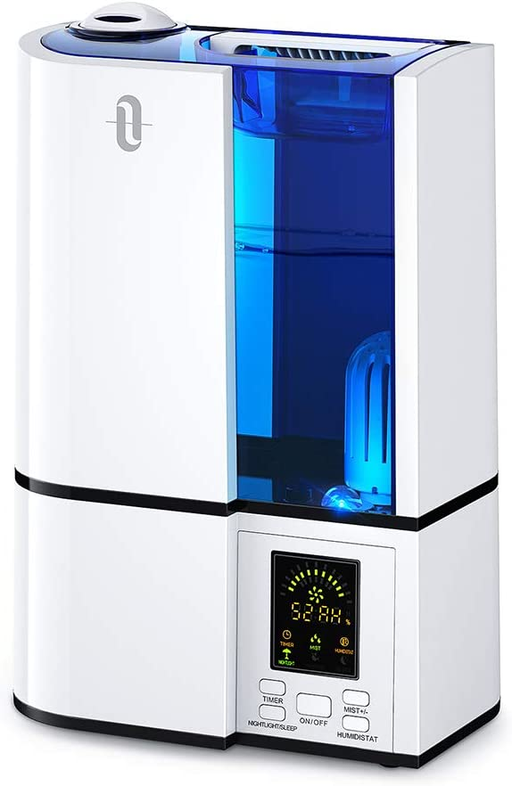 TaoTronics Cool Mist Humidifier, 4L Ultrasonic Humidifiers for Large Bedroom Home Baby, Quiet Operation, LED Display with Humidistat, Waterless Auto