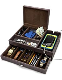 260f8f8c5 Admiral Big Dresser Valet Box & Mens Jewelry Box Organizer with Large  Smartphone Charging Station (