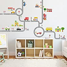 Decowall DA-1404 The Road and Cars Kids Wall Decals Wall Stickers Peel and Stick Removable Wall Stickers for Kids Nursery Bedroom Living Room (Large)