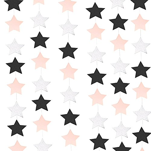 26 ft Twinkle Stars Paper Garlands Black and White Pink Hanging Decorations Glitter Silver Christmas Wedding FavorsTable Centerpieces Birthday Baby Shower Party Decorations (Star Silver Pink)