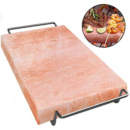 MAJESTIC PURE Himalayan Salt Block - Natural Pink Himalayan Salt Rock, with Stainless Steel Holder, 12in x 8in x 1.5in