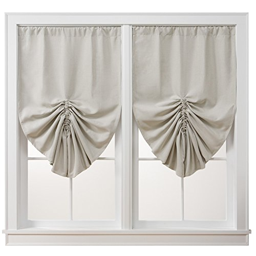 Pull Up Insulated Room Darkening Thermal Black Out Window Curtain Shade, Beige (Draped Shade Curtain)