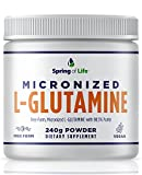 Spring of Life Micronized L-Glutamine, Free-Form 98.5% Purity, micronized for Maximum Absorption, 240 Grams