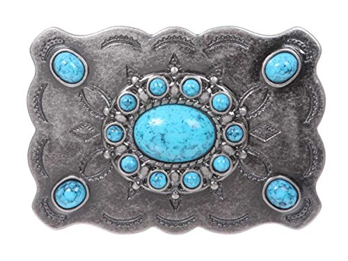 Western Flower Turquoise Stone Belt Buckle