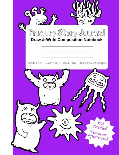 Primary Story Journal - Draw & Write Composition Notebook Grades K-2 | Cute Fun Monsters Cover to Color! Kindergarten to Early Childhood Dotted ... (Monsters Coloring Composition Book Series) -