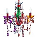 """The Original Gypsy Color 4 Light Small Gypsy Chandelier for H 17.5"""" x W 15"""", Red Metal Frame with Multi Color Acrylic Crystals"""