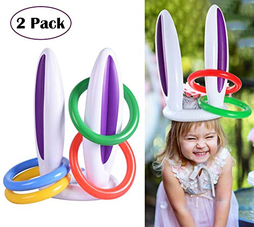 MODOLO 2 Pack Inflatable Bunny Rabbit Ears Ring Toss Game with Rings Easter Party Games for Family Kids (2 Rabbit Ears and 8 -