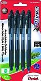 Pentel EnerGel-X Retractable Liquid Gel Pen 0.7mm Medium 0.7mm Metal Tip 4-Pack, Black Ink