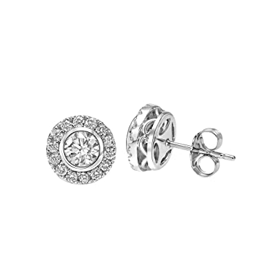 c9c75fddd4eed Brilliant Expressions 14K White Gold 1 Cttw Colorless Lab-Grown Conflict  Free Diamond Round Cluster Halo Stud Earrings and or Adjustable Pendant  Necklace ...