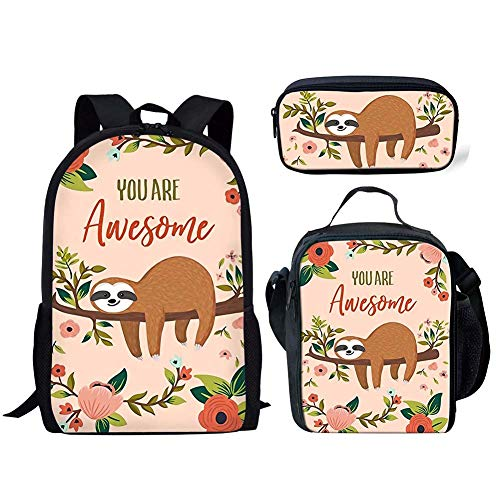 FANCOSAN Cartoon Sloth Printing Kids 3 Pieces Backpack Set Teenager Insulated Lunch Bag Pencil Bag