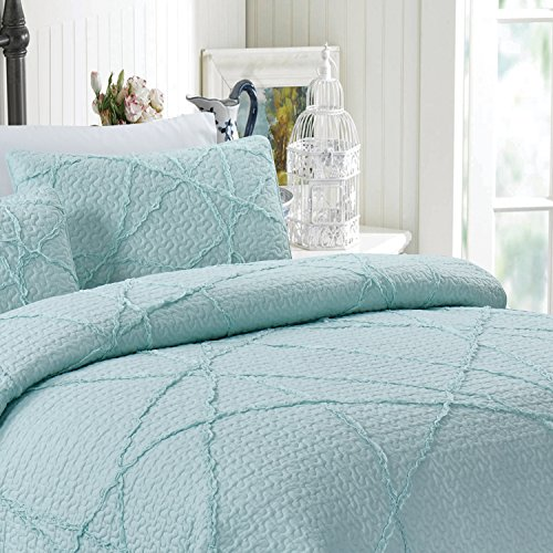 California Design Den Crazy Ruffled Breathable 100% Pure Cotton Luxury Quilt Sets, Full/Queen, Spa Blue, 3 Piece by California Design Den (Image #3)