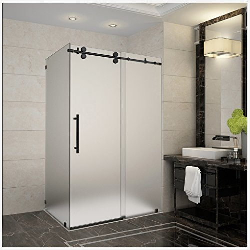 Aston SEN979F-ORB-48-10 Langham Completely Frameless Sliding Shower Enclosure with Frosted Glass in Oil Rubbed Bronze Finish, 44