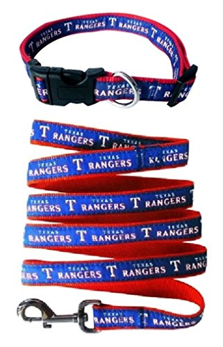 Texas Rangers Nylon Collar and Matching Leash for Pets (MLB Official by Pets First) Size Large by Pets First