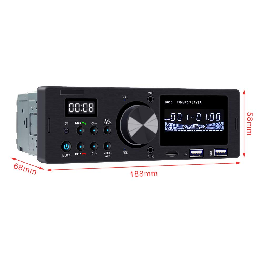 Ironpeas Car Stereo Receiver with Bluetooth Single Din Univeral Car Radio,USB//TF Slot//FM//WMA//MP3 Player,Wireless Remote Control Included