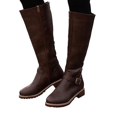 Mymyguoe Damen Klassische Stiefel mit Blockabsatz Vintage