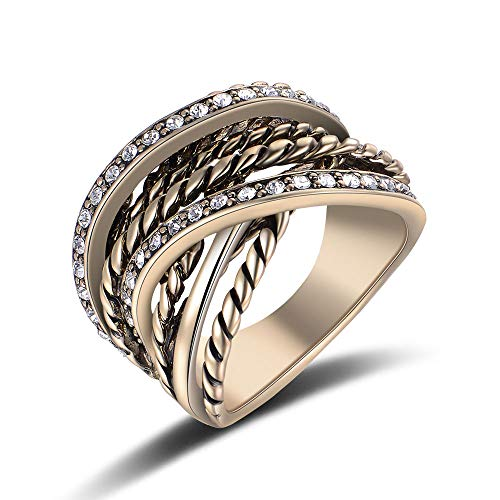 - Mytys Retro Vintage Gold Tone Interwined Crossover Crystal Fashion Statement Rings (7)