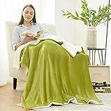 BEDSURE Sherpa Fleece Blanket Throw Size Olive