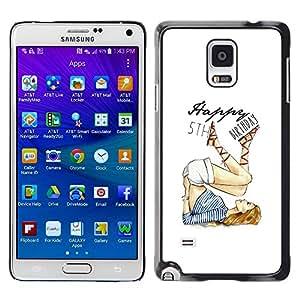 5 'th Birthday Girl Blanco Moda- Metal de aluminio y de pl¨¢stico duro Caja del tel¨¦fono - Negro - Samsung Galaxy Note 4