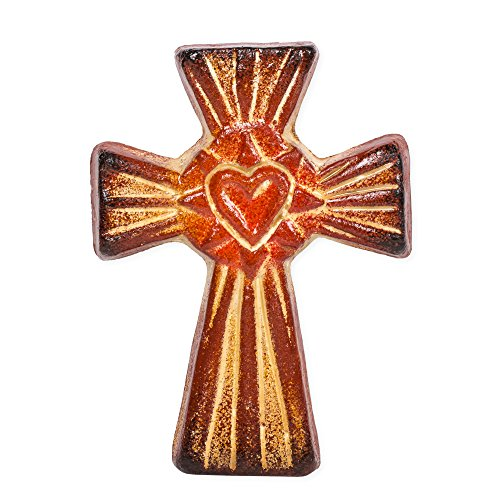 Small Ceramic Cross - Heart Red 7 x 5 Inch Handcrafted Clay Cross
