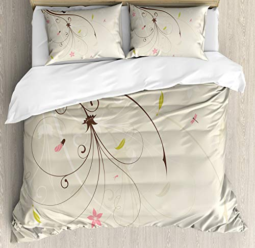 - Ambesonne Dragonfly Duvet Cover Set King Size, Spring Field Bouquet Shabby Chic Abstract Blossom Greenland Graphic Art, Decorative 3 Piece Bedding Set with 2 Pillow Shams, Tan Brown Light Pink
