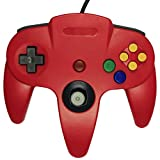 Donop RED 2 Pack Classic Wired Long Handle Gaming D Pad Joystick Thumbstick Controller for Nintendo 64 N64 Game Console (Red