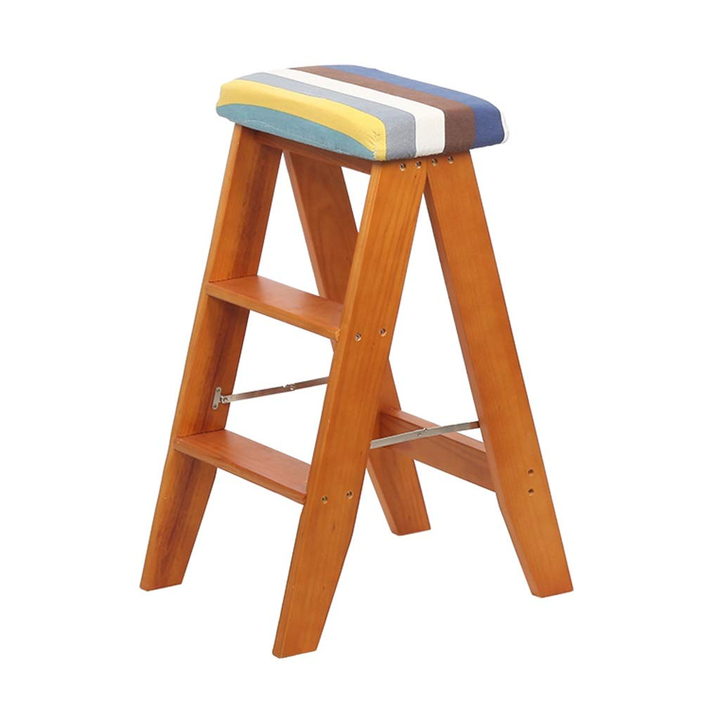WHITE 384464CM Folding Stool Climbing Stool Step Stool Pine Creative Stool Simple Dual-use Ladder Multi-Function Portable Climbing Stool Home Kitchen Folding Ladder (color   White, Size   38  44  64CM)